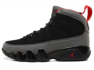 Кроссовки Nike Air Jordan 9 мужские черно-серые с красным - фото слева