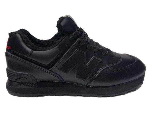 Зимние New Balance 574 Leather черные