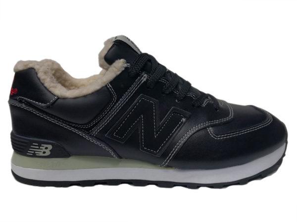 New Balance 574 на меху черные с белым (35-46)