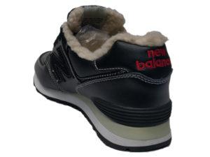 Зимние New Balance 574 Leather черные с белым - фото сзади