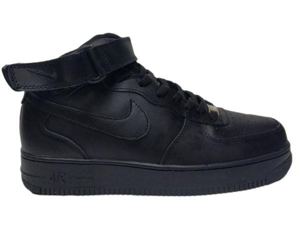 Nike Air Force 1 Mid на меху черные (35-46)