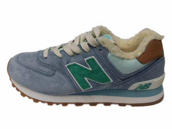 Зимние New Balance 574 Suede серо-голубые с зеленым