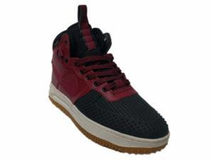Зимние Nike Lunar Force 1 Leather красные с черным - фото спереди