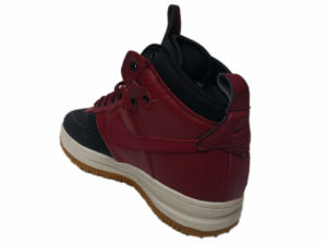 Зимние Nike Lunar Force 1 Leather красные с черным - фото сзади