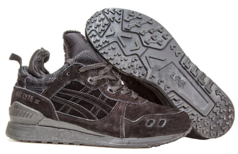 Зимние Asics Gel Lyte MT с мехом Black черные 40-45
