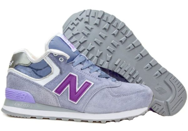 Зимние NEW BALANCE 574 High замша фиолетовые (36-40)