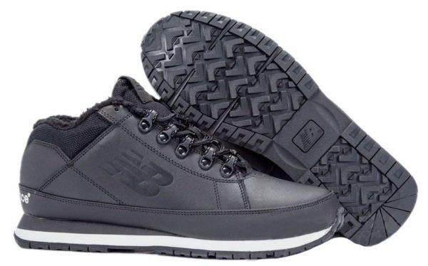 Кроссовки New Balance 754 с мехом кожаные черно-белые 40-44