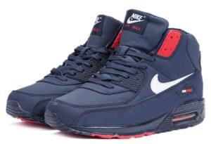 Зимние Nike Air Max 90 High с мехом синим с красным 40-45