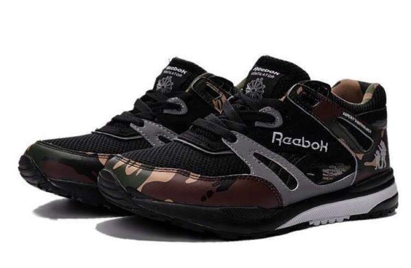 Камуфляжные кожаные кроссовки