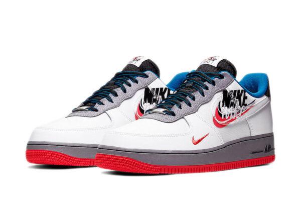 "Nike Air Force 1 07 LV8 ""Script Swoosh"" белые с серым кожаные мужские (40-44)"