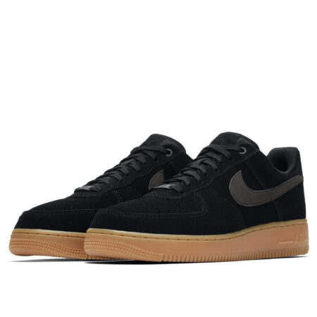 Nike Air Force 1 07 LV8 черные замшевые мужские (40-44)