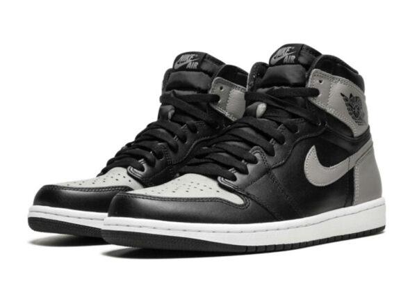 Nike Air Jordan 1 Retro черные с серым кожаные мужские (40-44)