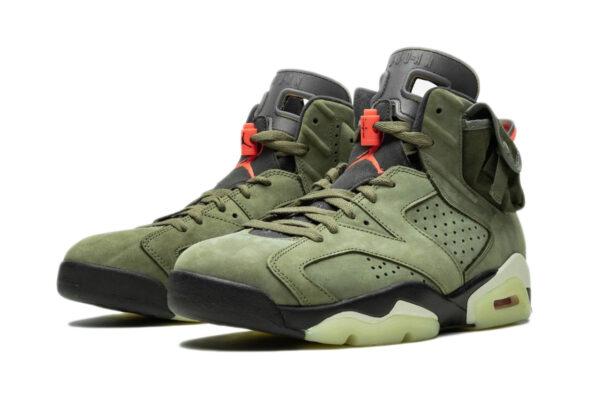 Nike Air Jordan 6 Travis Scott зеленые нубук мужские (40-45)
