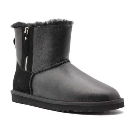 Зимние Ботинки UGG Bailey Mini Double zip с мехом черные (35-40)