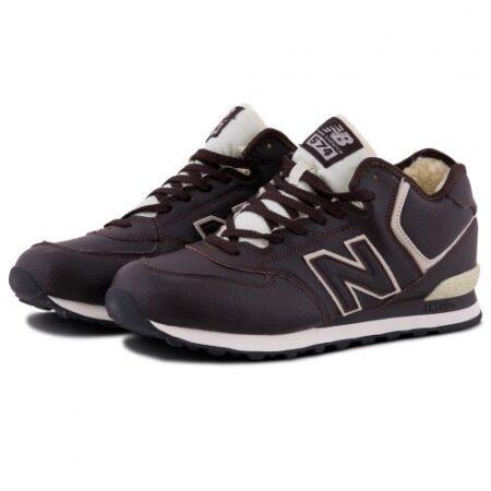 Зимние New Balance 574 Brown с мехом коричневые кожаные мужские (40-45)