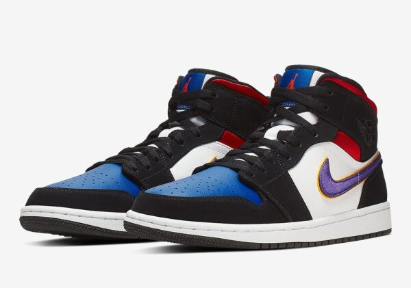 Nike Air Jordan 1 Mid se Lakers Top 3 черно-бело-синие с красным кожа-нубук мужские (40-45)