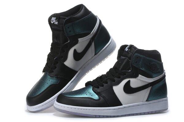 Nike Jordan 1 Retro бело-зелено-черные хамелеон (35-45)