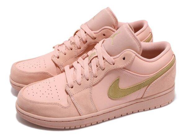 Nike Air Jordan 1 Low Coral Gold коралловые кожа-нубук женские (35-39)