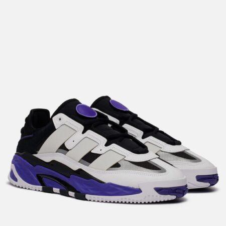 Adidas Niteball белые с фиолетовым кожа-нубук мужские-женские (35-44)